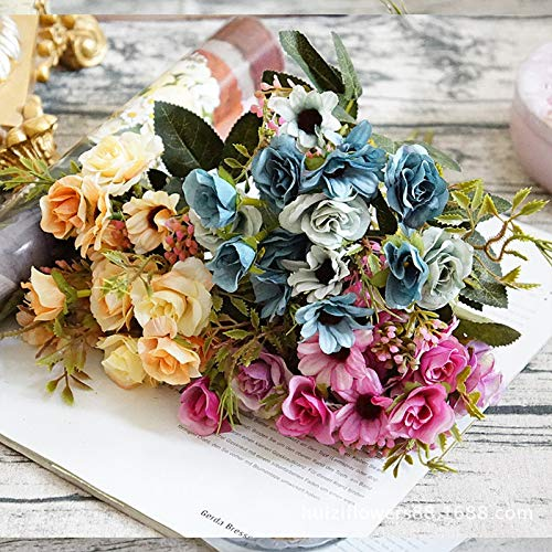 Image of fake flowers Easy-Care Fabric Roses, Small Oil Painting Daisies And Small Roses, Artificial Flowers And Fake Flowers for Home Wedding Photography Soft Outfit (Green) Simulation of plants and