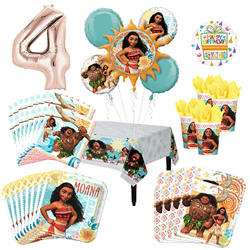 Sale!! Mayflower Products Moana Party Supplies 16 Guest Kit and 4th Birthday Balloon Bouquet Decorat...