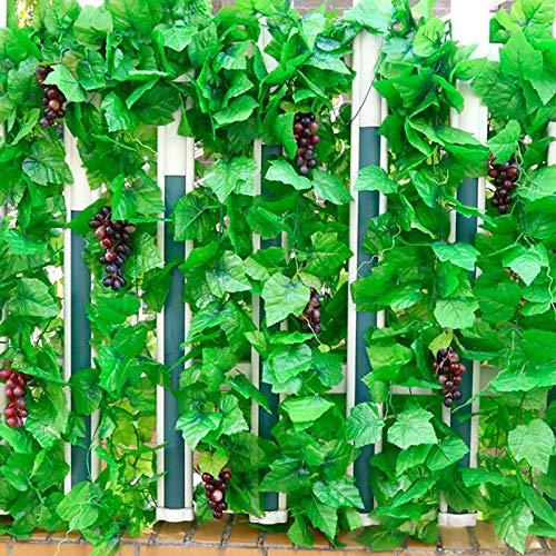 JIESD-Z kunstmatige klimop om op te hangen, 12 stuks met 5 kunstmatige druivendecoratie voor tuin terras hek Leaves - 2.8inch multicolor