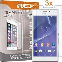 REY 3X Protector de Pantalla para Sony Xperia M2 / M2 Aqua, Cristal Vidrio Templado Premium