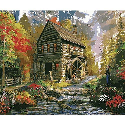 JDSHFJ Art Malen Nach Zahlen Kit Erwachsene Kinder Kits Home Haus Dekor Lodge Angeln - 16 X 20 Zoll (Ohne Rahmen)