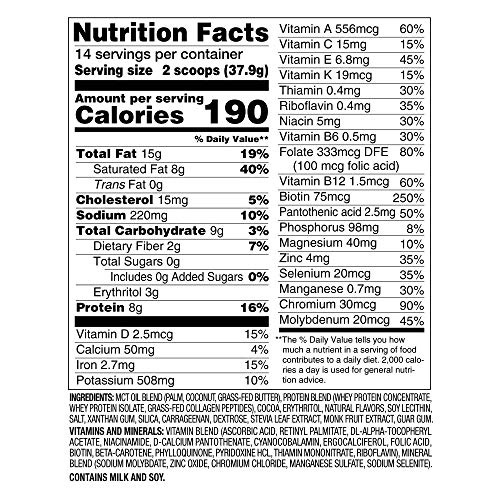 Nature Fuel Keto Meal Replacement Powder, Gluten Free with Coconut Oil, MCT Oil and Grass-Fed Butter, Double Chocolate Milkshake, 14 Servings 2