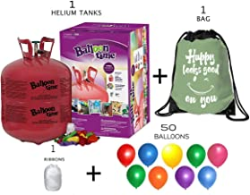 Blue Ribbon Balloon Time Disposable Helium Tank 14.9 cu.ft - 50 Balloons and Ribbon Included - Plus Drawstring Backpack Bag