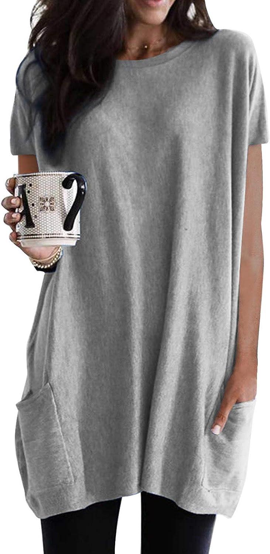 Dokotoo Womens Summer Casual Shirts Short Sleeve Tunic Tops with Pockets