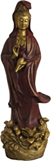 Standing Kuan Yin Statue with Gold Detail, 19.5 Inches