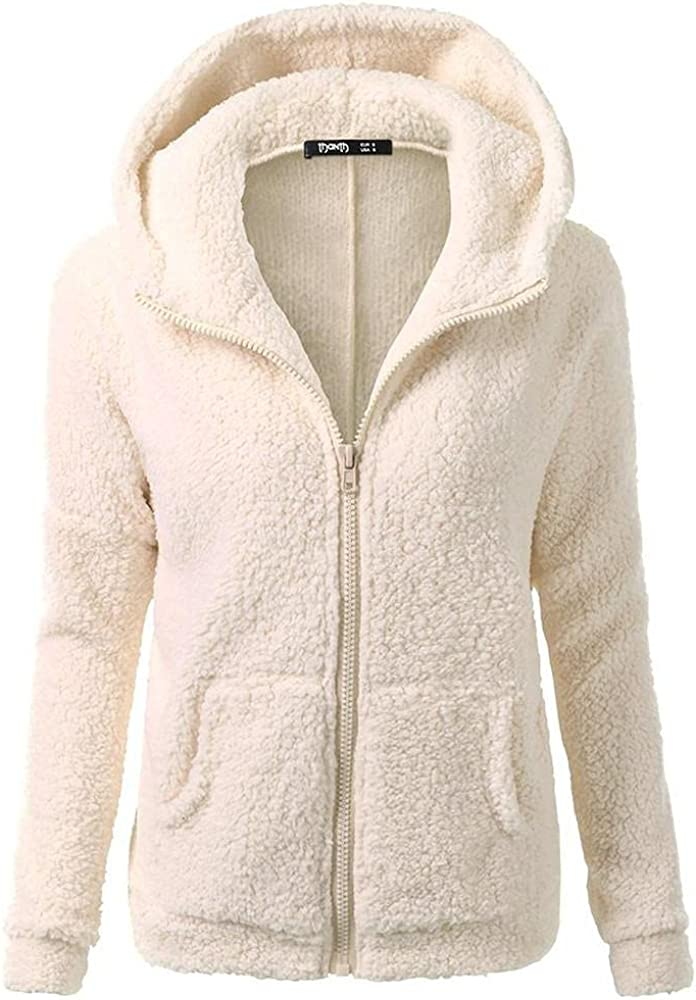 haoricu Women Faux Shearling Coat Long Sleeve Teen Girl Vogue Hoodie Solid Fleece Jacket Hooded Shaggy Coat