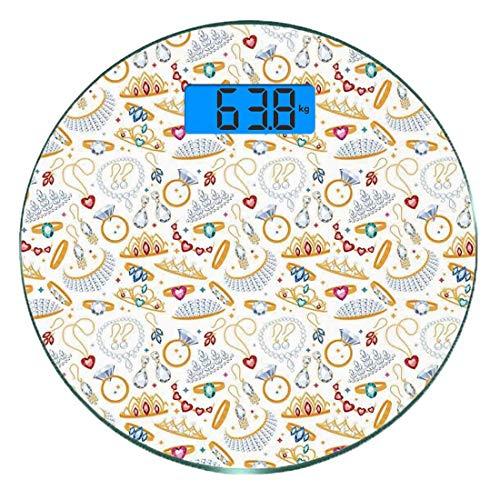 Pèse-personne numérique de précision Ronde Perles Dimensions précises de poids de la balance de salle de bains en verre trempé ultra mince,Motif avec accessoires Bagues et boucles d'oreilles en diaman