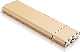 Disco duro externo tipo C USB 3.1 portátil 1 TB 2 TB HDD externo compatible con Mac portátil y PC (2 TB, dorado)