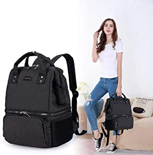 Diaper Bag Backpack Maternity Nappy Baby Travel Bag Organizer for Mom and Dad (black)