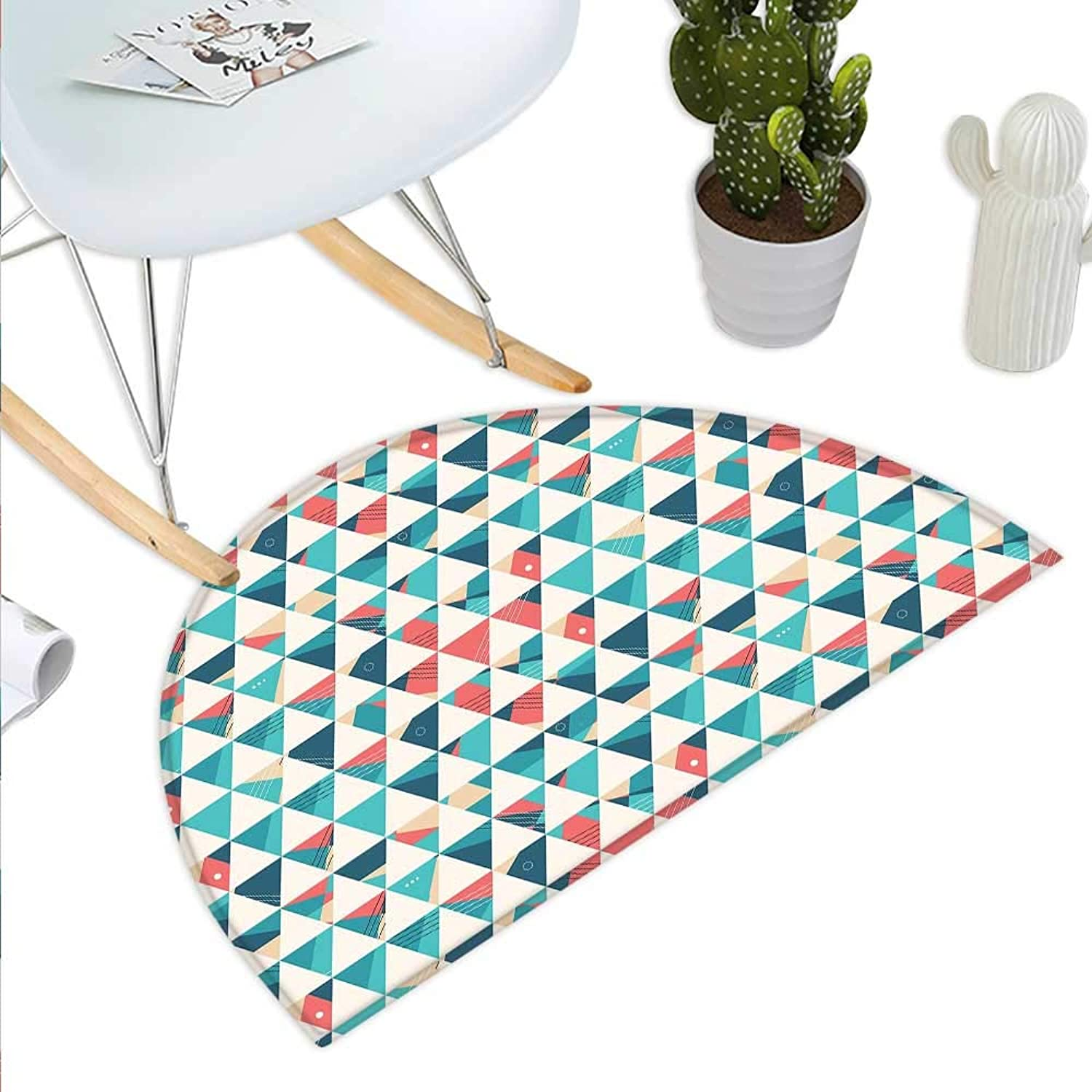 Geometric Semicircle Doormat Abstract Triangles Hexagons Soft colors Modern Artwork Cubism Inspired Halfmoon doormats H 35.4  xD 53.1  Turquoise Teal Coral