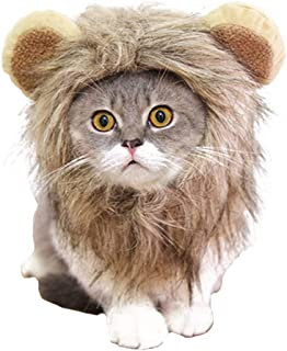 Halloween Cat Lion Mane Wig Costume Christmas Little Dog Lion Hair Adjustable Washable Funny Pet Puppy Dress Up Hat Cute Kitten Kitty Hair Mane with Ears for Holiday Photo Shoots Cospaly Party
