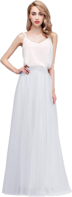 honey qiao Tulle Bridesmaid Skirts High Waist Floor Length Long Woman Maxi Skirt