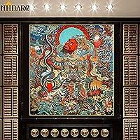 中国の巻物アート Tibetan Thangka Buddha Painting Thangka Tibetan India中国の宗教装飾スタイルキャンバスプリント絵画ポスターアートウォール映像家の装飾 家の装飾のために掛ける準備ができている風水絵画 (Color : Free, Size : 40x43cm No Frame)