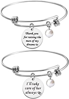 KUIYAI Thank You for Raising The Man of My Dream I Will Take Care of Her Always Necklace Bracelet Gift for Mother in Law