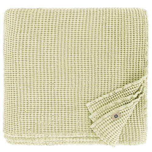 Linen und Cotton Plaid Decke Sommer Tagesdecke Waffelpique Enzo - 48prozent Leinen, 52prozent Baumwolle, Beige Creme (150 x 210 cm) Leinendecke Baumwolldecke Wohndecke Blanket Überwurf Bett Bettwäsche Bettüberwurf