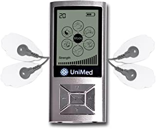 Unimed TENS Unit Massager Muscle Stimulator TENS Machine Device for Back Neck Shoulder Pain Management with Lifetime Warranty (Silver)