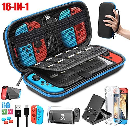 BuFan 16 en 1 Kit de Accesorios Nintendo Switch, Funda Nintendo Switch, Funda Protectora de Silicona/ Funda de Transparente / 2 Protector de Pantalla Vidrio/ Tapas para Joystick |/...