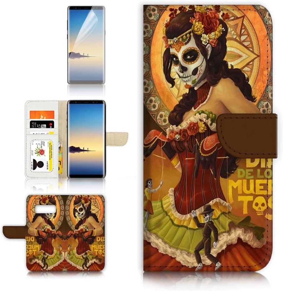 (for Samsung Galaxy S10e) Flip Wallet Case Cover & Screen Protector Bundle - A9538 Sugar Skull