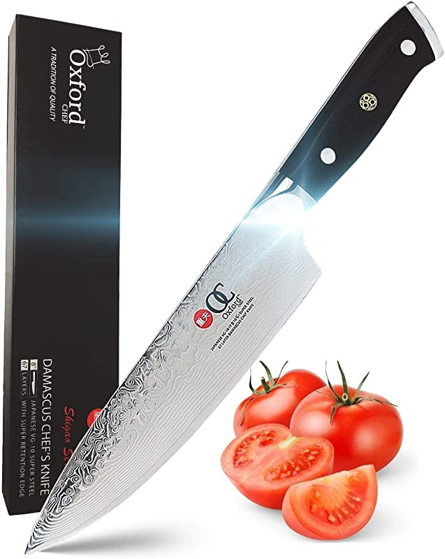 Chefs Knife 8 Inch By Oxford Chef Best Quality Damascus Japanese VG10 Super Steel 67 Layer High Carbon Stainless Steel Razor Sharp Stain Corrosion Resistant Awesome Edge Retention