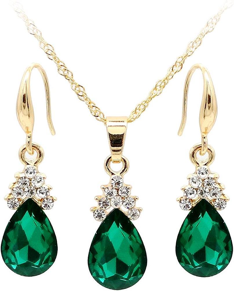 yingyue Vintage Teardrop Faux Rhinestone Women Jewelry Set Necklace Hook Earrings Pendants