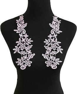 1 Pair Embroidery Applique Wedding Lace Floral Motif Sewing Trims Decoration (Style B Violet)