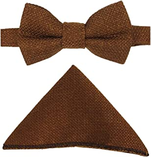 Mens & Boys Matching Cinnamon Brown Dickie Bow Tie and Pocket Square Set