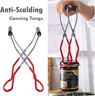 fine_fine Canning Jar Lifter Long with Grip Handle- Canning Tongs Stainless Steel - Anti-Scalding Anti-Slip Wide-Mouth Clip Universal for Kitchen Restaurant (Red)