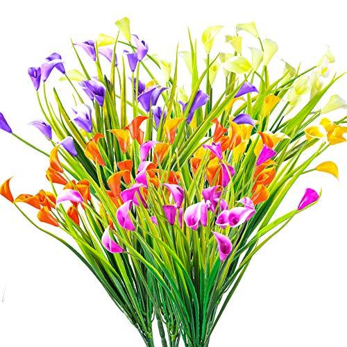 6 Piezas Flores Artificiales de Lirio Cala, Flores de Plástico Decorativas, Plantas...