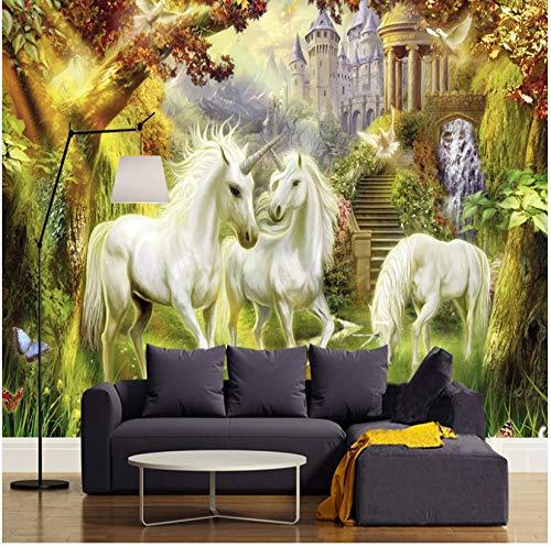 Papel pintado mural adhesivo de pared Fantasy Fairy Forest Unicorn White Horse Castle Mural Estilo europeo 3D Photo Wallpaper Mesita de noche Sala de estar Decoración para el hogar 3D Fresco