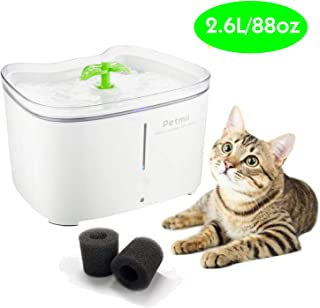 Petmii Pet Fountain, 88oz/2.6L Automatic Cat Water Fountain Dog Water Dispenser with 2 Replacement Filters for Cats, Dogs, Birds and Small Animals