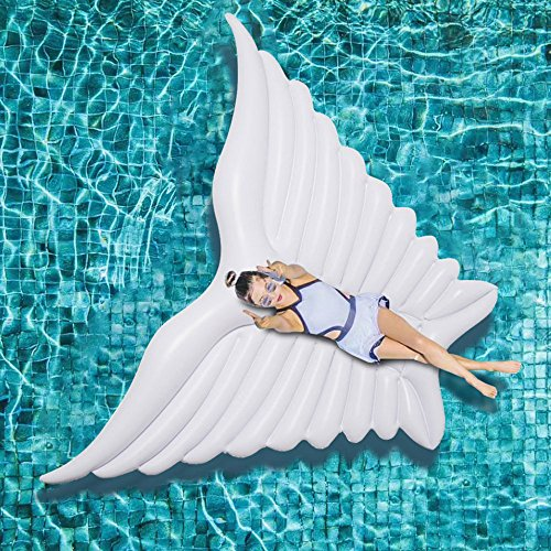 Piscina Inflable flotador Colchonetas y juguetes hinchables Gigante Ángel Alas Inflable Piscina Flotador Blanco Aire Colchón Ocioso Agua Partido Juguete Ride-on Mariposa Natación Anillo Piscina
