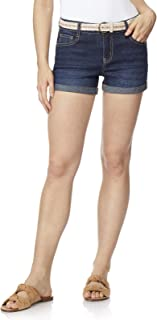 Women's Juniors Belted Classic Legendary Shorty Shorts (Color Options)