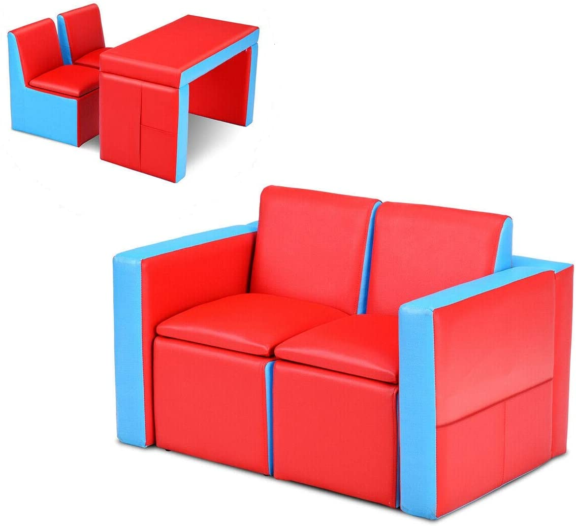 Blue Comfy Chair w// Ottoman Furniture Lot fits Fisher Price Loving Family Doll