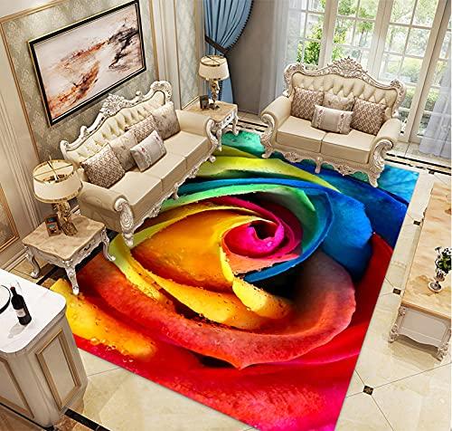 koushuiwa Alfombra 3D Impreso Pasillo Felpudo Colorido Rosas Antideslizante Alfombras Kids Play Floor Mat A36 (50 x 80 cm)