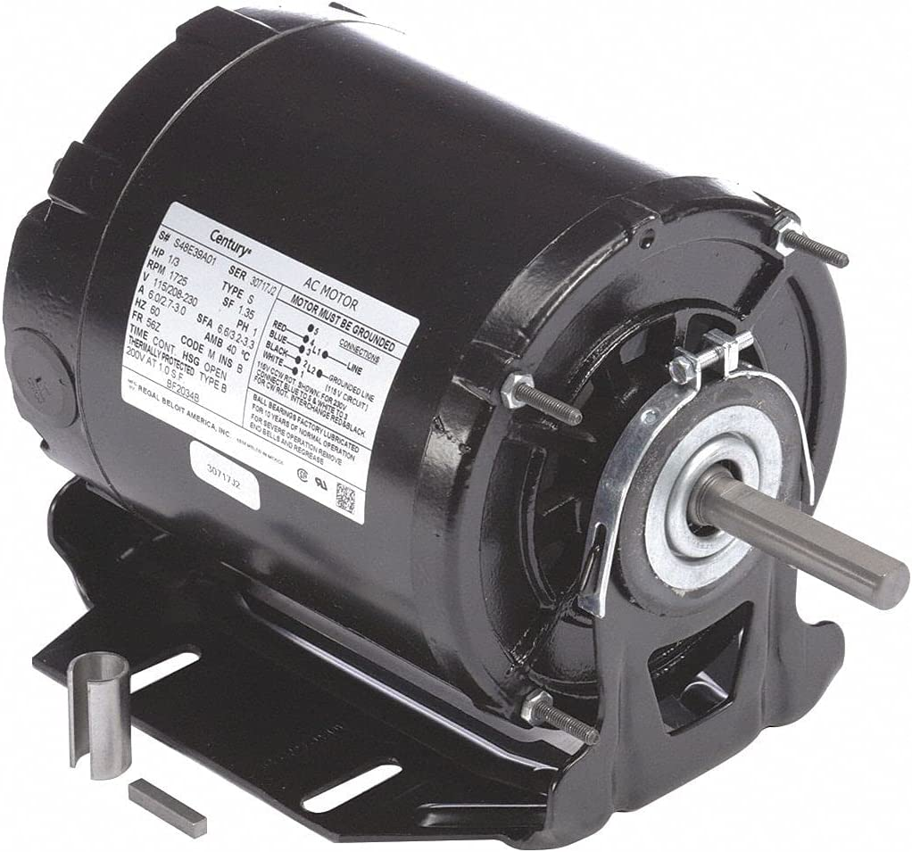 Century 1 3 Very popular HP Belt Drive Motor Max 43% OFF Nameplate Split-Phase 1725 RPM