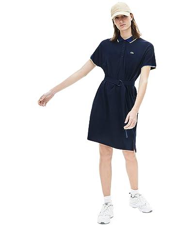 Lacoste Dolman Sleeve Semi Fancy Pique Polo Dress (Navy Blue/Methylene/Subal) Women