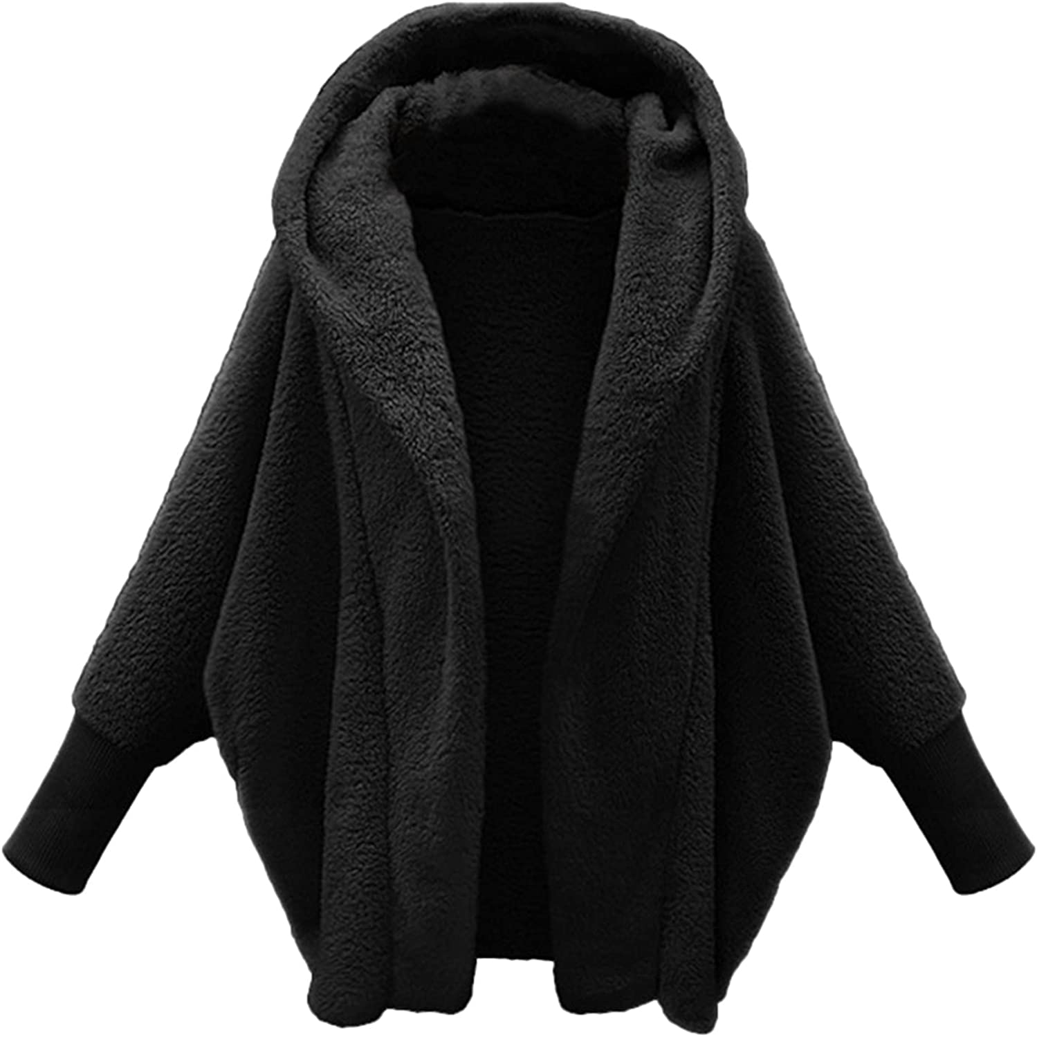 Women Fuzzy Fleece Open San Diego Mall Manufacturer regenerated product Front Hooded Pocket with Cardigans Coats