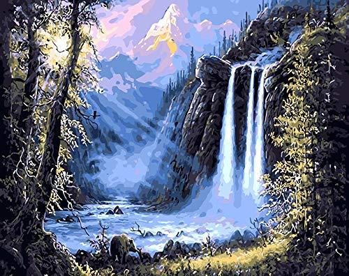 Pintura por nmeros, lienzo, paisaje, pintura al leo, pster, carteles coloridos e impresiones, artesana sin terminar, decoracin del hogar, bricolaje, hobby A4, 60x80cm