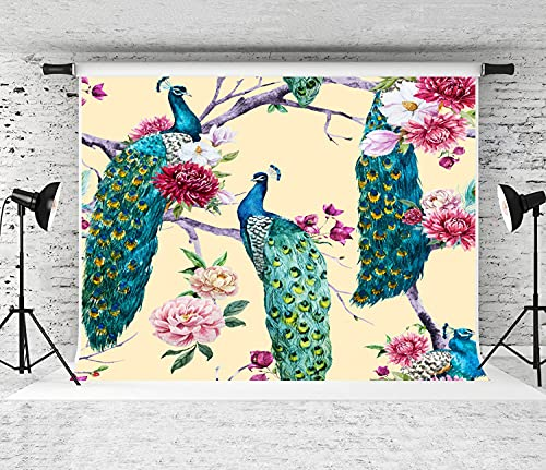 MATEKULI 3x5FT Photography Background Watercolor Peacock Sitting on a Tree with Pink Flower, Chrysanthemum Flower, Bougainvillea, White Magnolia, Peony Party Decor Banner Photo Booth Backdrop Props