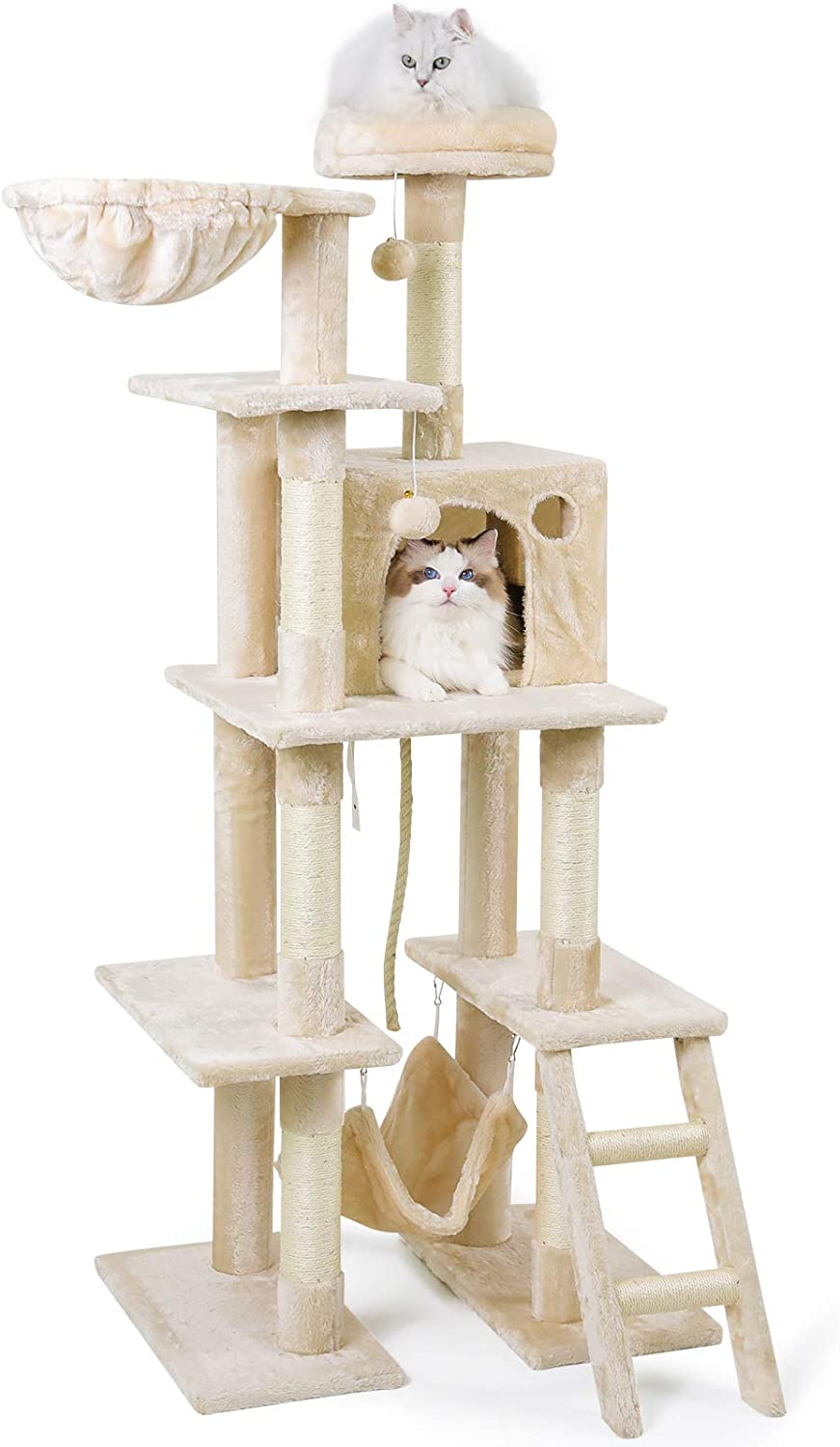 """rabbitgoo Cat Tree Cat Tower 61"""" for Indoor Cats, Multi-Level Cat Condo with Hammock & Scratching Posts for Kittens, Tall Cat Climbing Stand with Plush Perch & Toys for Play Rest"""