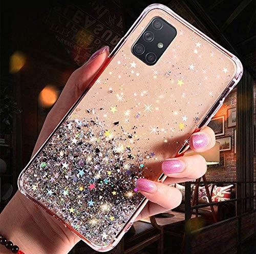 Uposao Kompatibel mit Samsung Galaxy A51 Hülle Glänzend Glitzer Strass Diamant Sterne Transparent TPU Silikon Handyhülle Weiche Dünn Durchsichtig Schutzhülle Tasche Crystal Case,Silber