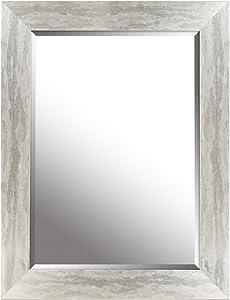 Mirrorize Canada Gradient Framed Bevelled Wall Mirror| Vanity,Hallway,Bathroom, Bedroom | 26.25x34.25 (Inner mirror 20X28)|Silver Leaf| Circle| Medium Bevelled Mirror