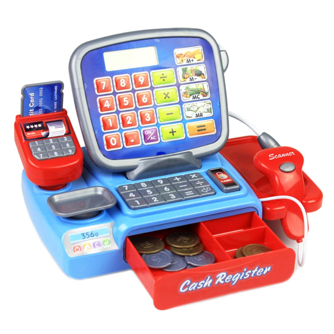 Foxom Caja Registradora Juguetes, Supermercado Electrónica Cajero con Calculadora,Escáner, Juego de rol para Niños: Amazon.es: Juguetes y juegos