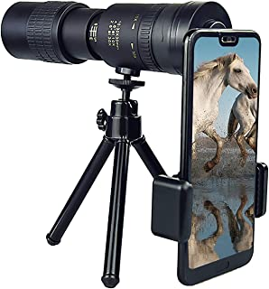 4k High Definition Monocular Telescope 10-300x40mm Zoom High Power HD Monocular with Smartphone Holder & Tripod Bak4 Prism...