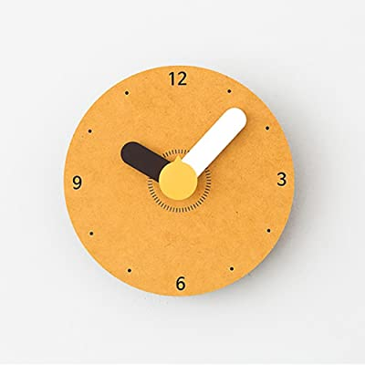 LIU Creative Wall Clock Fashion Personality Lovely Cartoon Child Bedroom Clock, yellow, 1414cm