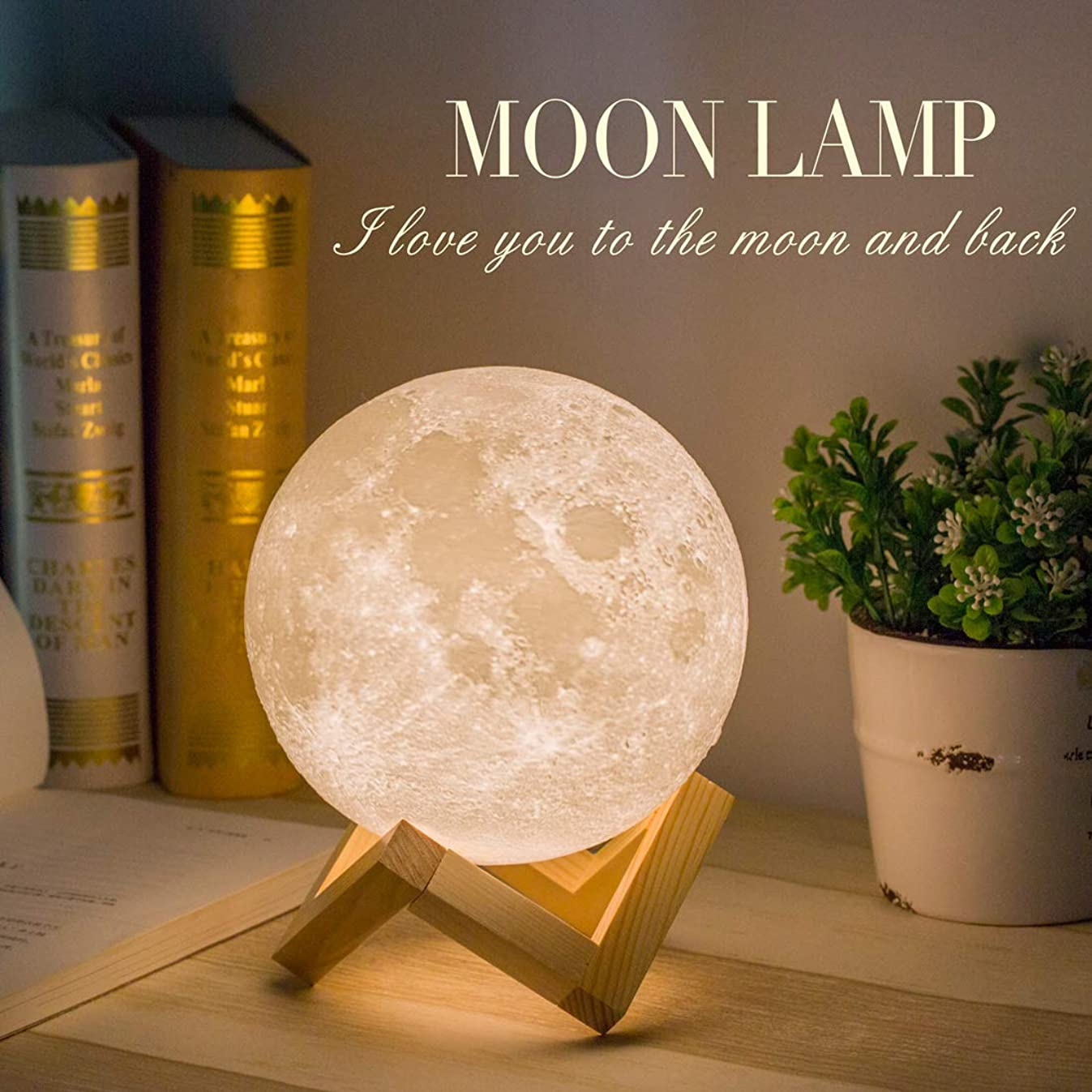 Moon Lamp, Balkwan 5.9 inches 3D Printing Moon Light uses Dimmable and Touch Control Design,Romantic Funny Birthday Gifts for Women,Men,Kids,Child and Baby. Rustic Home Decor Rechargeable Night Light
