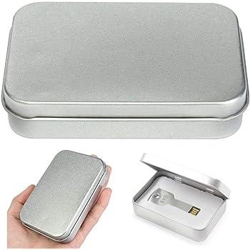 Uteruik - Juego de 2 cajas de almacenamiento de metal con tapa de metal para monedas y caramelos (plateado): Amazon.es: Hogar