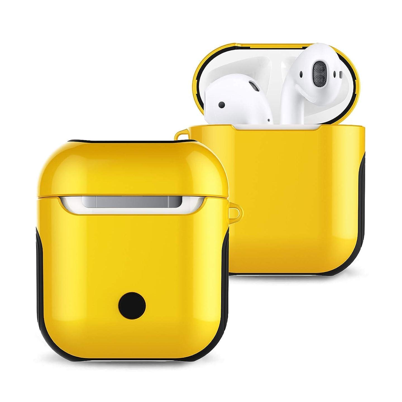 ハブ解くできればBluetoothヘッドセットAirpodsケース、オールインクルーシブ、落下防止ハードケース (Color : Yellow)