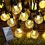 EUKSRH Solar Lichterkette aussen Garten - 8m 50 LEDs, solarbetrieben/batteriebetrieben, 8 Modi Wasserdicht LED Kristall Kugeln für Fest Deko, Festival, Bäume, Terrasse, Partys (warmweiß)