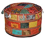 Rajasthali Indiana Traditional Home Decorativo ottomano a Mano e Patchwork Piede Sgabello Piano Cuscino, 58 x 33 cm